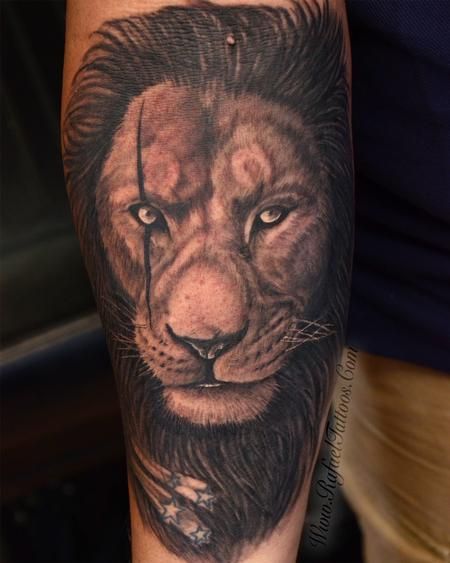 Royal King - Black and Grey Scarred Lion Face
