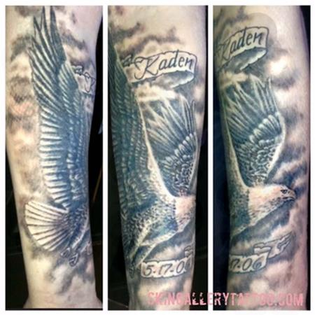 tattoos/ - Black and Gray Eagle Tattoo - 117421