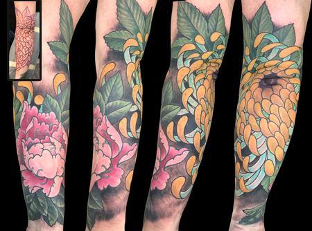 tattoos/ - Spider Mum and Peony Flowers  - 139943
